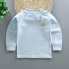 Baby Girls Boys T Shirt Long Sleeve Plaid Clothes 1-6Y
