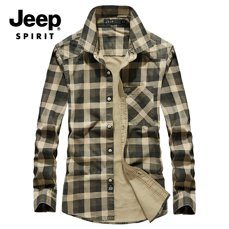 JEEP SPIRIT Famous Brand Men Shirt Autumn Military Casual Long Sleeves Single Breasted Shirt Male Plus Size M-4XL Cotton Shirts