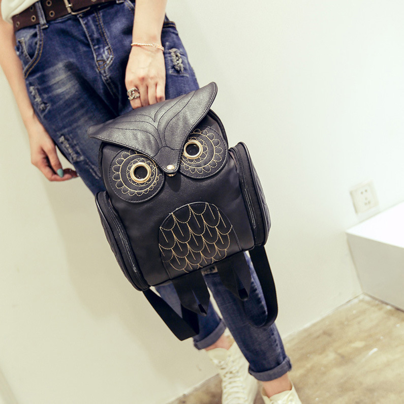 PU Leather Embossed Owl Bagbag New Style Women's Cartoon Animal Bagbag Travel WOMEN'S Bag