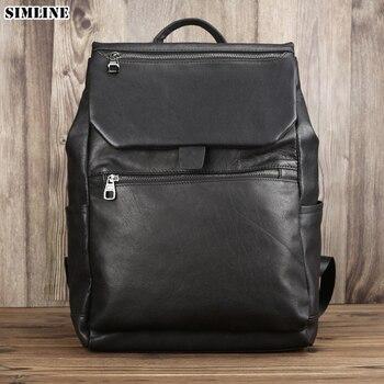 2019 Genuine Leather Backpack For Men Male Vintage Travel Backpacks Shoulder Laptop Bag Student School Bags Handbag Rucksack Man
