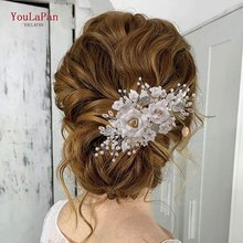 Topqueen hp320 цветочный свадебный гребень для волос боковая