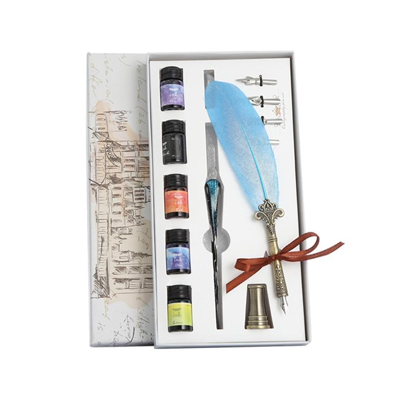 Glass Pen Ink Starry Sky Dip Pen Crystal Pen Feather Set Student Manual Gradient Color Net Red Color Ink Pen For OfficeLK