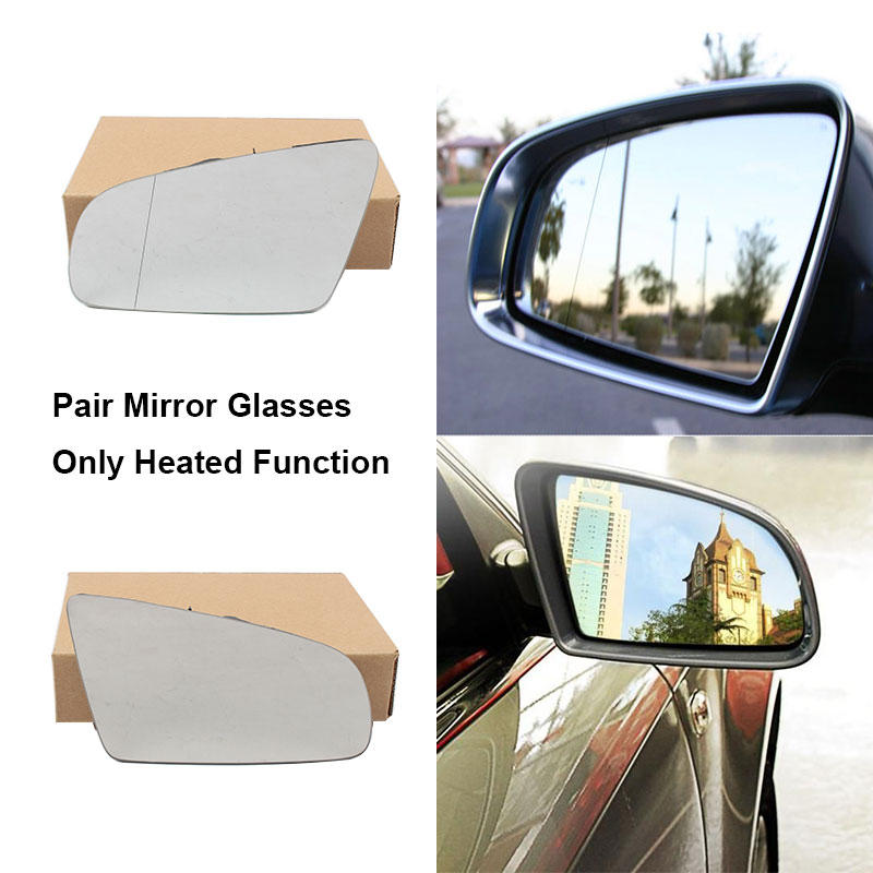 For AUDI A3 S3 A4 B6 B7 A6 S6 Front L Side Rearview Mirror Glass W// Heated