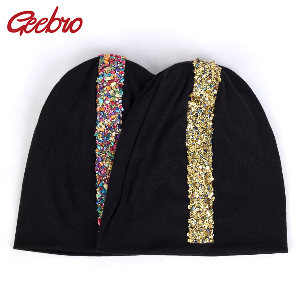 Geebro Colorful Stones Gold Sequins Applique   Beanies   Winter Warm Hats For Women Fashion Female Cotton Hats Slouchy Caps DZ936