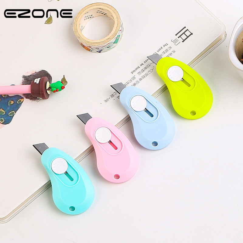 EZONE 1PC Mini Candy Color Art Knife Portable Paper Cutter With Hole Hanging Office Cutting Supplies Scalable Knife Stationery