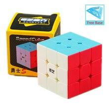 Dropshipping qiyi guerreiro s/w 3x3x3 cubo mágico colorido antistress 3x3x3 aprendizagem educacional quebra-cabeça cubo para presentes das crianças
