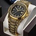 Креативный дизайн Ретро Мужские кварцевые наручные часы полностью из стали с календарем водонепроницаемые Модные мужские s часы Лидирующи...
