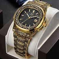 Creative Design Retro Men Quartz Wristwatches Full Steel Calendar Waterproof Fashion Mens Watches Top Brand Luxury Male Clock