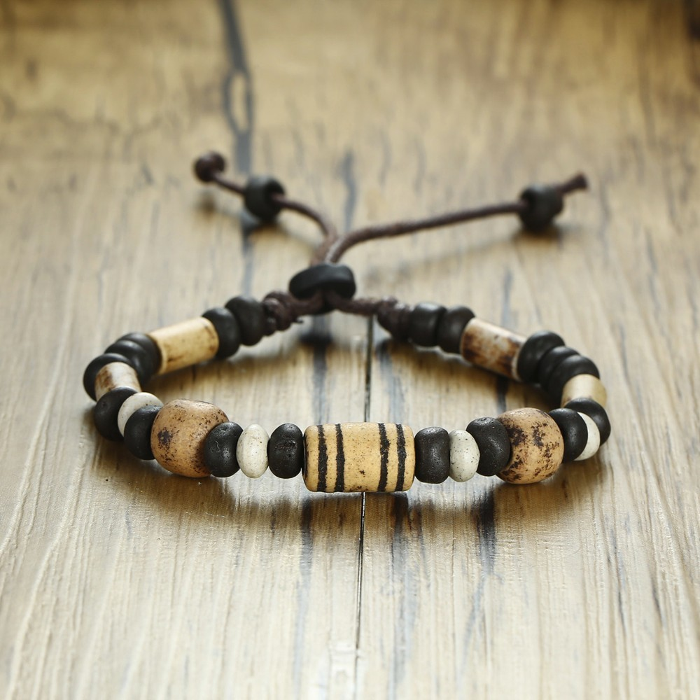 Men's Wood Beaded Bracelet Surfer Bohemian Stacking Bangle Tribal Chic Jewelry Drawstring Jewellery Festival Boho Gypsy