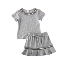 Summer Short Sleeve Pearl Solid Gray Round Neck T-Shirt Ruffles Skirts Outfits 2PCs Toddler Infant