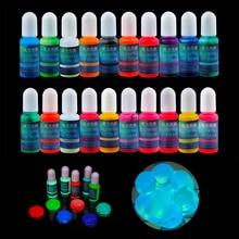 20 kolory 10ml Pigment fluorescencyjny Luminous farba żywica barwnik żywica epoksydowa żywica epoksydowa Pigment świeci w nocy dla majsterkowiczów