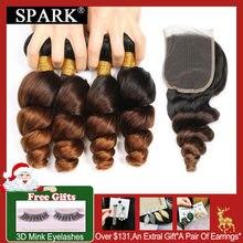 Эффектом деграде(переход от темного к перуанские Волнистые пряди с закрытием 1B/4/30 Spark Волосы remy человеческие волосы для наращивания на пряди с закрытием средней соотношение