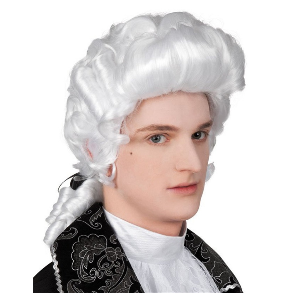White Baroque Men's Wig Hair George Washington Medieval Renaissance Accessory Cosplay Halloween Makeup Mens Fancy Dress Wig