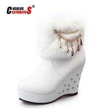 Cuculus 2021 Winter Faux Fur Fashion Wedges Heels Women Shoes Woman Boots Platform Warm Snow Luxury Femme Ladies Boot White 1034