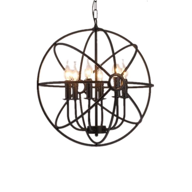 Industrial Vintage Retro Loft Style Wrought Iron Globe Cage Round Pendant Light Scandinavian luminaire suspendu|Pendant Lights|   - title=