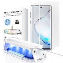 하이테크 UV 접착제 화면 보호기, 삼성 갤럭시 노트 10 20 S21 S20 울트라 강화 유리 곡선 풀 커버 조명 및 도구
