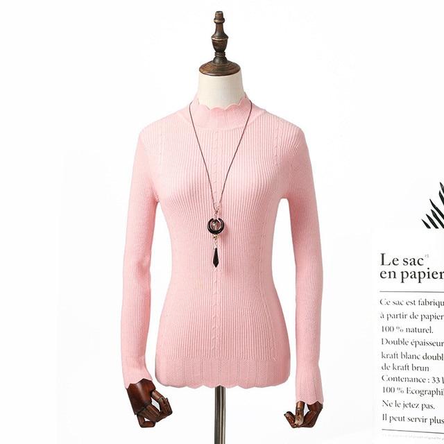 Sitaicery Turtlenecks pull femmes pétale col à manches longues mince femme pull pull nouveautés 2020 vêtements pour femmes