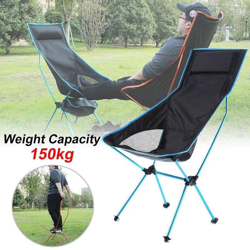 Открытый портативный складной стул Максимальная нагрузка 150 кг Сверхлегкий путешествия рыбалка стул для кемпинга пикника домашнее сидение...