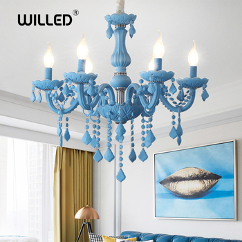 Modern chandelier kids room chandeliers Bedroom Children Nursery princess hanging lamp Indoor house Sky Blue Color girls room