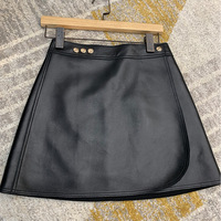 Irregular Skirt 2020 New Autumn Leather Skirt Women's High Waist Slimming Skirt Sheepskin Split A line Dress