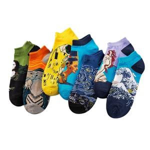Image 2 - 3 ペア女性綿アートアンクルソックスプリントかわいいレトロ塗装ショートソックス夏カジュアルファッションハッピーバンゴッホ靴下
