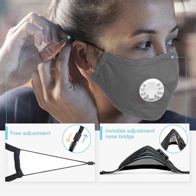 PM2.5 Mouth Mask Anti Dust Mask Activated Carbon Filter Reuseable Anti   Windproof Mouth-Muffle Bacteria Proof Flu Face Masks 4