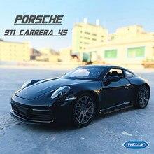 WELLY – voiture de sport Porsche 911 Carrera 4s (992) 1:24, modèle de voiture en alliage noir, artisanat, décoration, collection, jouet, outil, cadeau