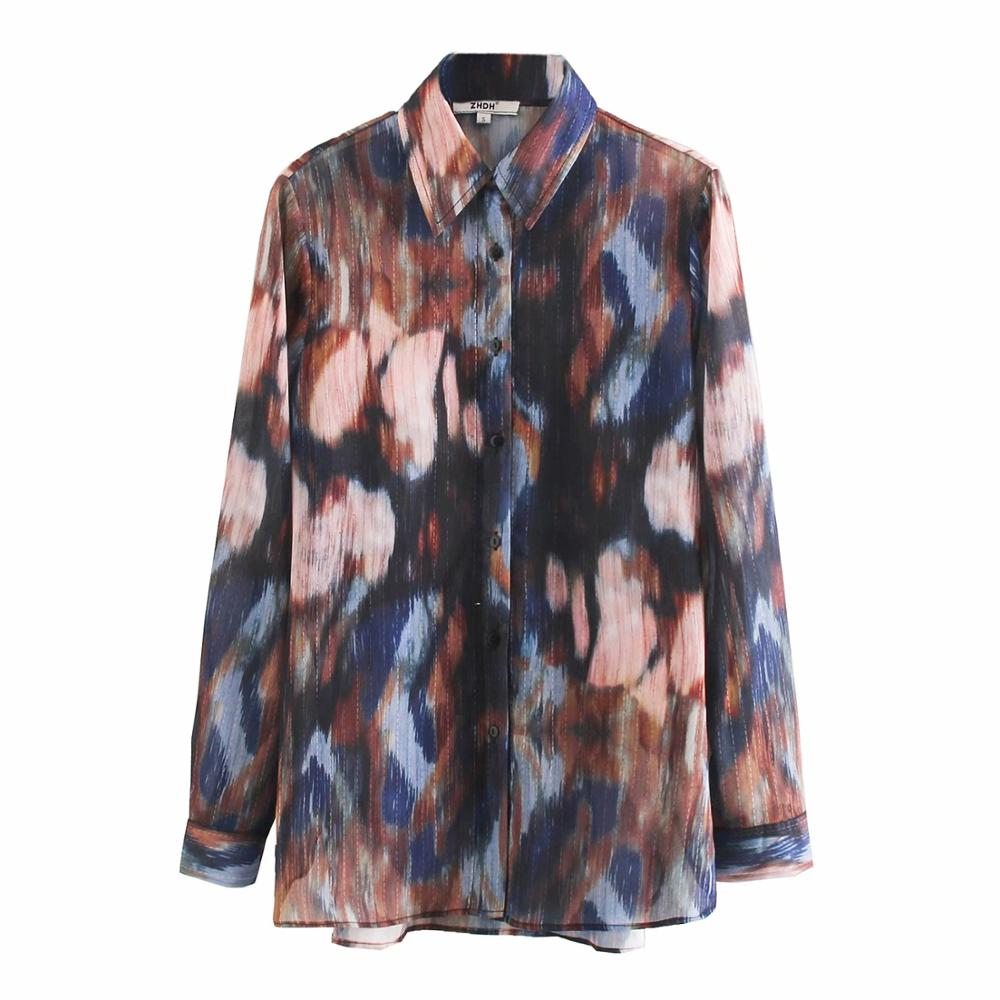 New Fashion Women Vintage Tie Dye Printing Casual Chiffon Blouses Metallic Lines Shirts Female Chic Business Blusas Tops LS6258