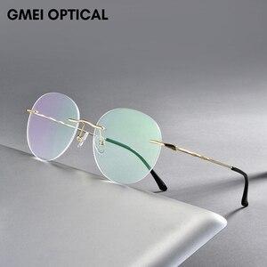 Titanium Alloy Rimless Glasses Frame Men Ultralight Round Eyeglasses Myopia Prescription Frames For Women Optical Eye Glass