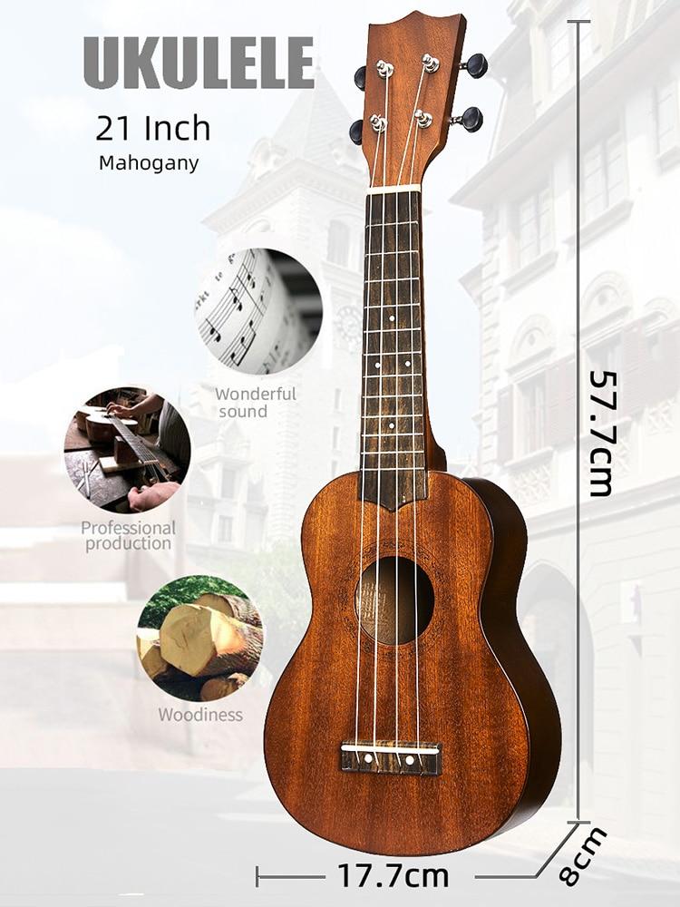 Ukulele Guitar Mahogany-Neck Delicate-Tuning-Peg Wood 4-Strings 21inch Beginner