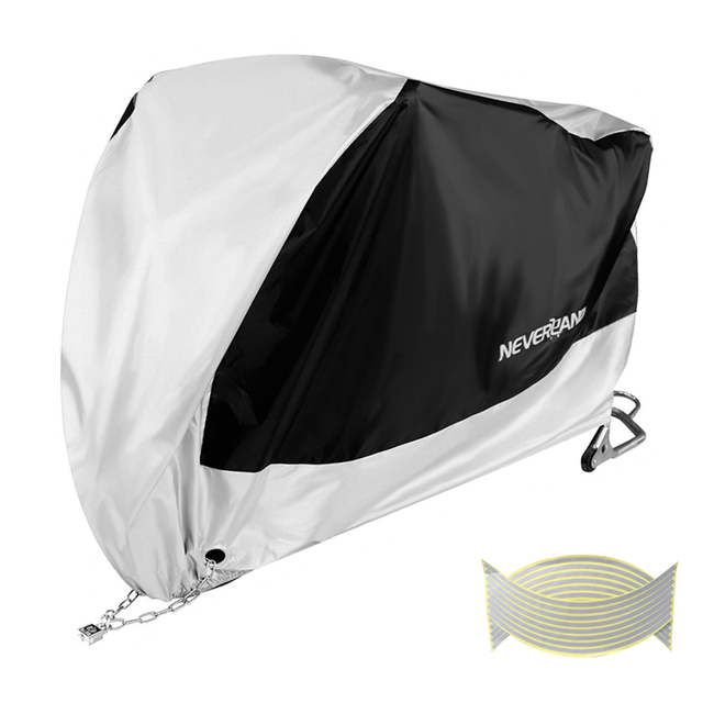 Silver Black 190T Dust UV Protector Sun Snow Rain Proof Waterproof Motorcycle Covers Cover Coat M L XL XXL XXXL D45