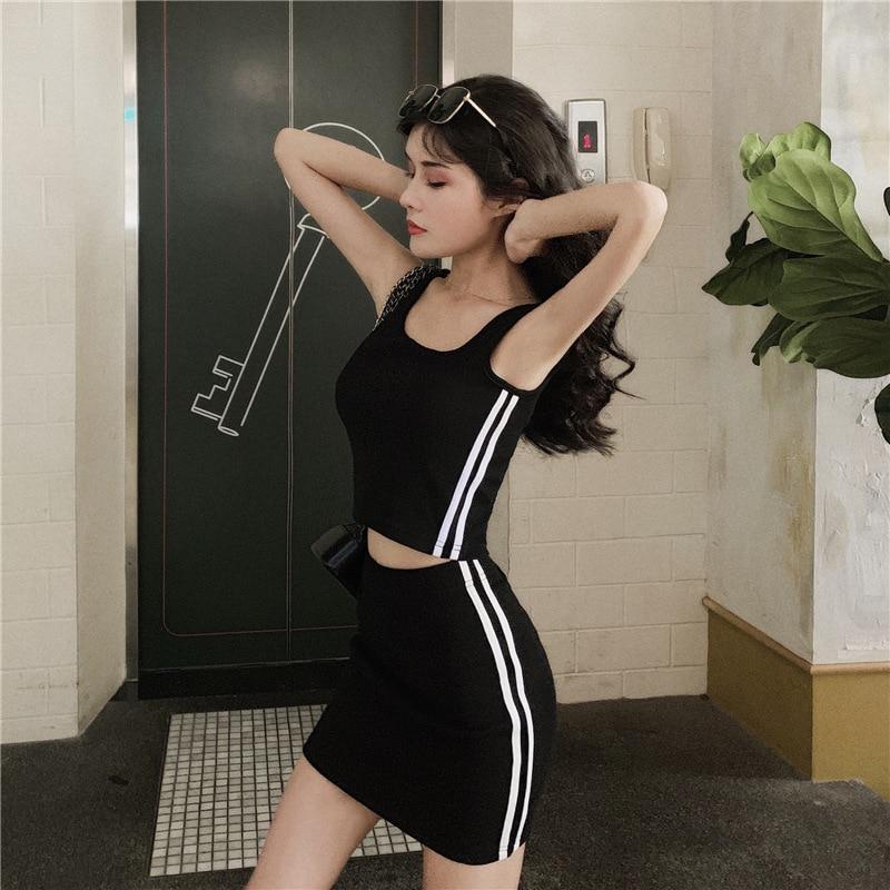 WOMEN'S Dress 2019 Summer New Products Sports Casual Short Vest Waist Hugging Sheath Short Skirt Two-Piece Set