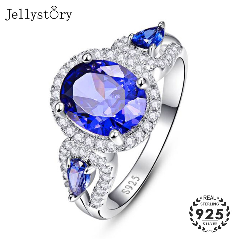 Jellystory Classic Silver 925 Ring Jewellery with 8*10mm Oval shaped Sapphire Zircon Gemstones Women ring Wedding Gift wholesale