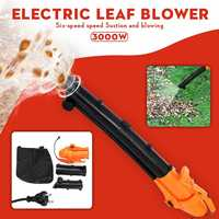 3000W 6 Speed 220V Electric Air Blower Vacuum Blowing Shredder Machine Dust Collector Hand Leaf Blower Fan Computer Cleaner