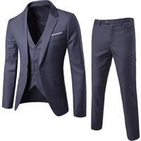 S 6XL New Men's Business Casual Slim Blazers Suits Fashion Men Three piece Suits For Groomsmen Wedding New Spring Autumn