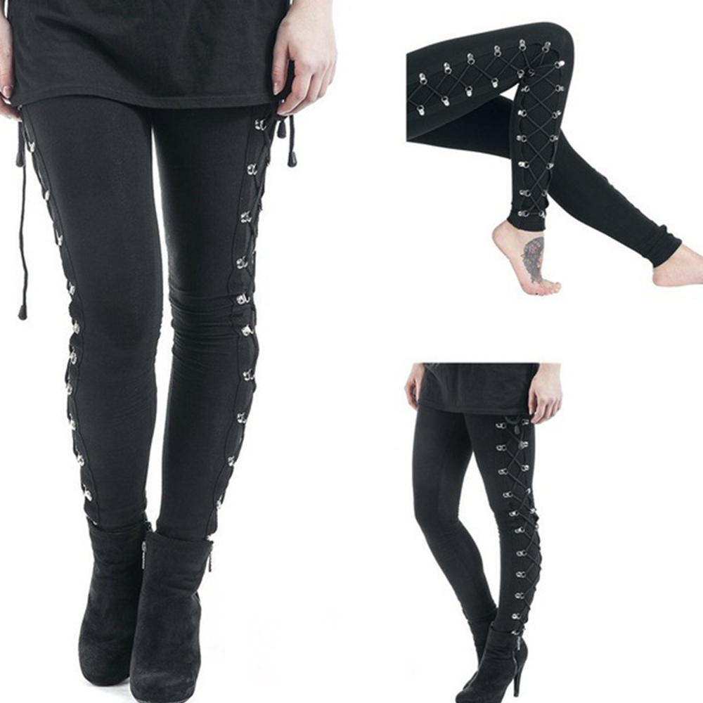 Rivet Gothic Pants Trousers Women Black Steampunk Skinny Ladies Leggings Fashion Goth Dark Pencil Pants Legging Female