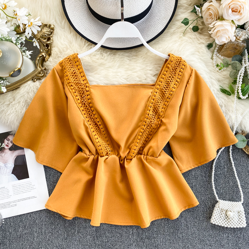 Chic Retro Square Collar Loose Short Flare Sleeve Thin Short Tops Shirt Women Solid Color Blusas Mujer De Moda Blouse K378