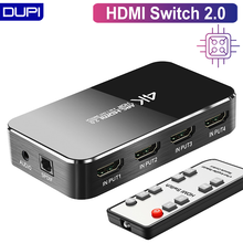 HDMI التبديل 2.0 4K 60HZ HDR مقسم الوصلات البينية متعددة الوسائط وعالية الوضوح (HDMI) التبديل 4 في 1 خارج HDMI الجلاد مستخرج الصوت قوس و وحدة تحكم بالأشعة تحت الحمراء ل PS3 PS4 HDTV