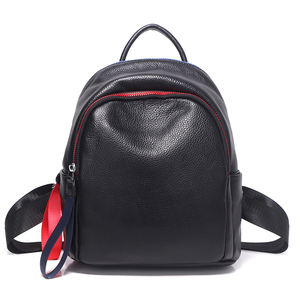 Image 5 - 2019 Blue Red Chain Design Real Leather Women Bagpack Youth Girl Korean Fashion Soft Leather Cowhide Small Backpack Rugzak