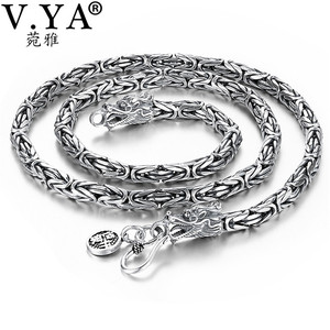 Image 5 - V.YA S925 Mens Chains 925 Sterling Silver Necklace Men Dragon Clasp Heavy Thick Chain Necklace Handmade Thai Silver Jewelry