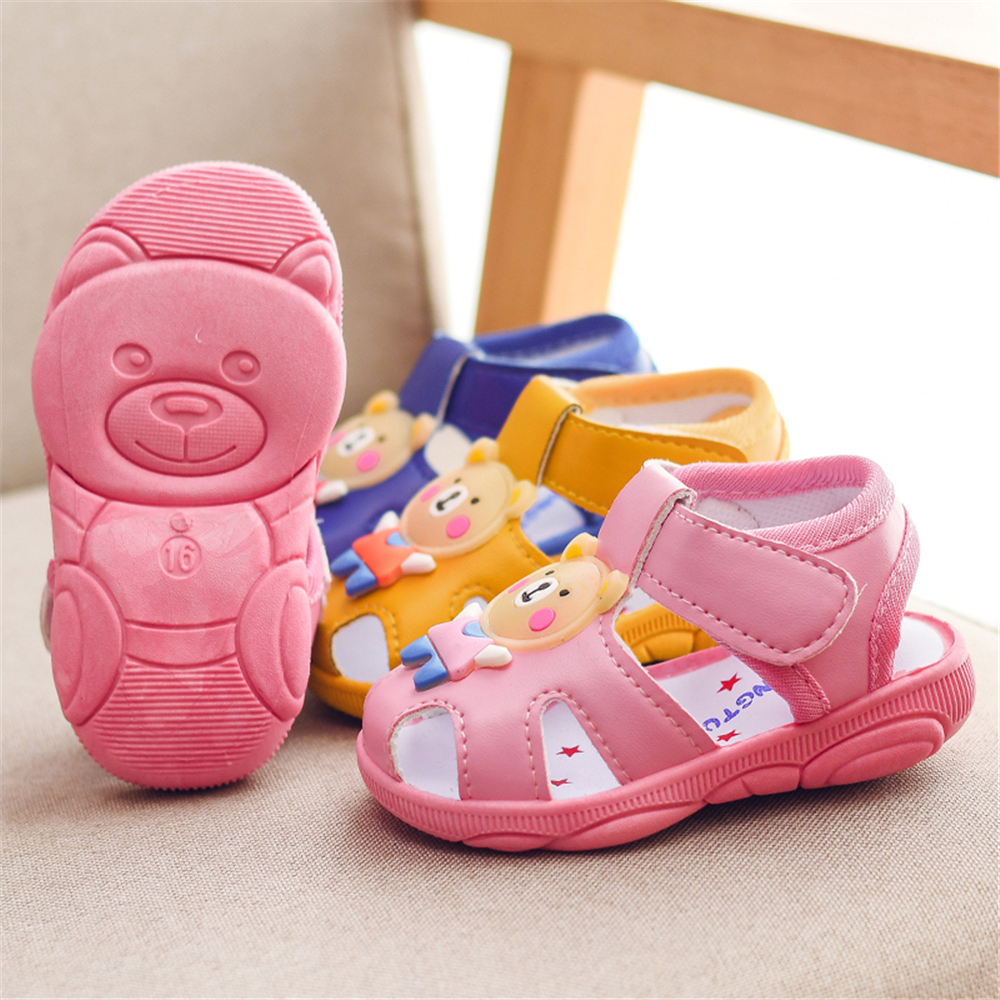 Baby Boys Girls Animals Cartoon Bear Non-Slip Sandals Kids Toddlers Flat Shoes Newborn Summer Prewalker