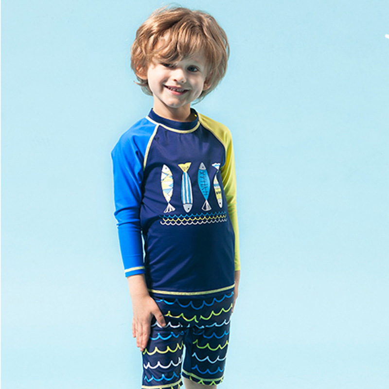 KID'S Swimwear 2017 New Style Foreign Trade Export Middle And Large Boy BOY'S Long Sleeve Split Type Boxer Swim Bathing Suit