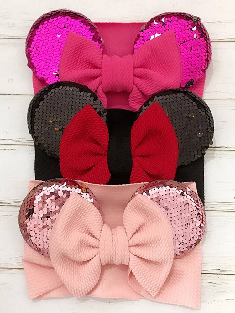 Cute Baby Girl Headband Bows Sequins Kids Turban Toddler Hair Band Headbands For Girls