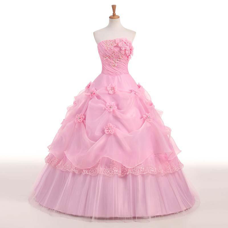 Pink Red White Applique 2019 Sweetheart Princess Wedding Dress Strapless Plus Size Wedding Gowns Retro Lotus Bridal Dress