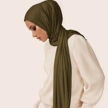 Écharpe en jersey pour Hijab musulman, châle doux, en tissu solide, vêtements arabes, foulard de tête, couvre-chef, hoofddoek, pour les femmes, tendance 2020