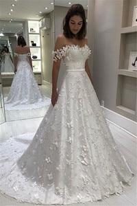 Image 1 - Свадебное платье חתונה שמלות מדהים סטרפלס Off the כתף כלה שמלת אלגנטי Applique כדור שמלת חתונת שמלה