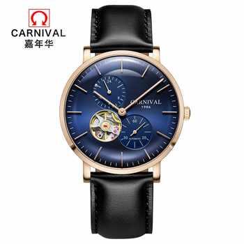 Modus Tourbillon Automatische Uhr Männer Selbst wind KARNEVAL Mechanische Uhren Top marke Luxus Lederband Saphir Wasserdicht