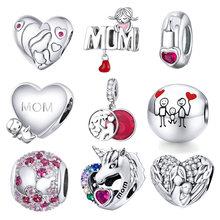 Pendentif BISAER en argent Sterling 925 oxydé avec perles pour maman, bijoux pour femmes, breloques en argent Sterling 925, ECC1460
