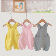 Baby Girl Clothes Set Summer Cotton and Linen Solid Overalls for Children Summer Kids Fashion Sleeveless Suspender Jumpsuit