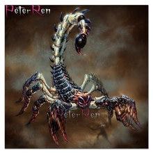 Полный квадратный круглый 5d diy Алмазная картина животное Скорпион